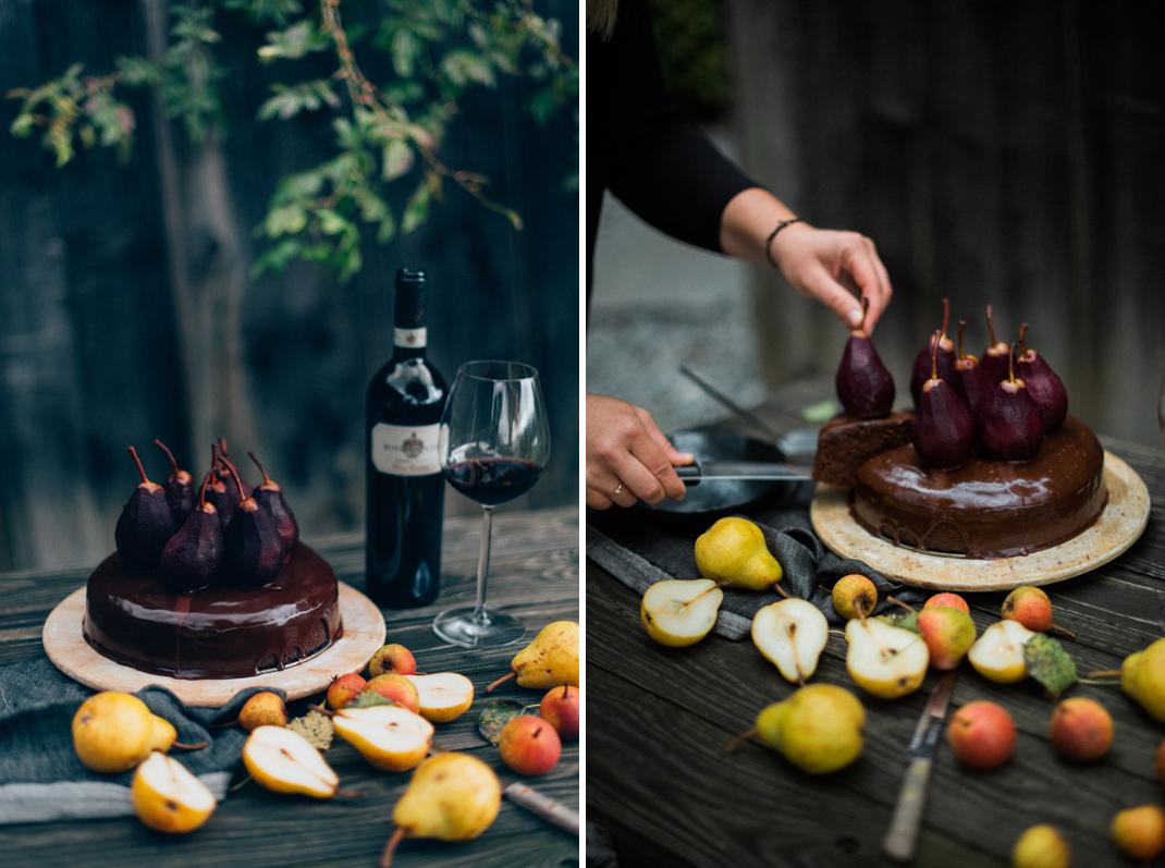 Schokolade Rotwein Kuchen mit Rotwein-Birnen. Rezept von Silvia Fischer. Echte Kuchenliebe. Konditormeisterin Linz/Oberösterreich