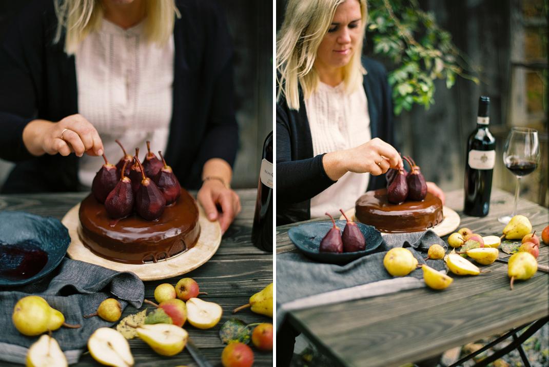 Silvia Fischer. Echte Kuchenliebe. Schokolade Rotwein Kuchen mit Birnen Rezept