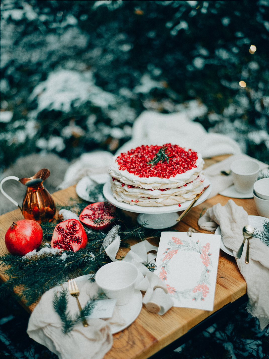 Granatapfel Baiser Torte, Pavlova, Rezept Silvia Fischer. Echte Kuchenliebe