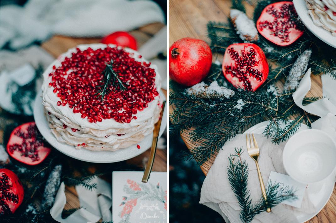 Silvia Fischer. Echte Kuchenliebe. Granatapfel Pavlova Baiser-Torte